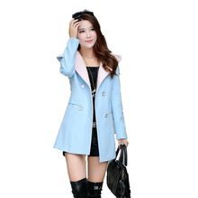 2016Autumn Winters Latest Fashion Women Wool Coat Temperament Pure color Keep Warm Double-breasted Hooded Medium Long Coat G0958