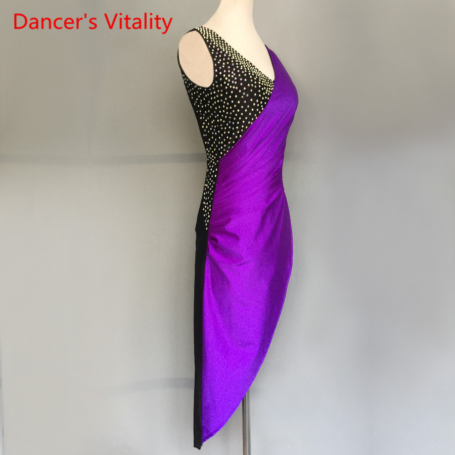 Women Girls Latin Dance Dress Luxury Diamond Hollow Out Irregular Dresses Adult/Kids Latin Dance  Stage Performance Costume