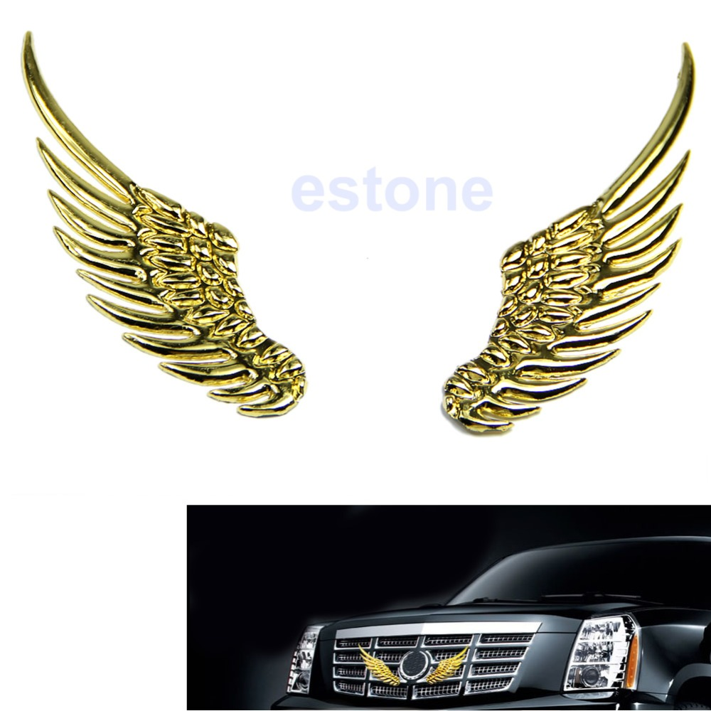 Car Styling Universal Vintage 3D Alloy Metal Silvery Angel Wings Car