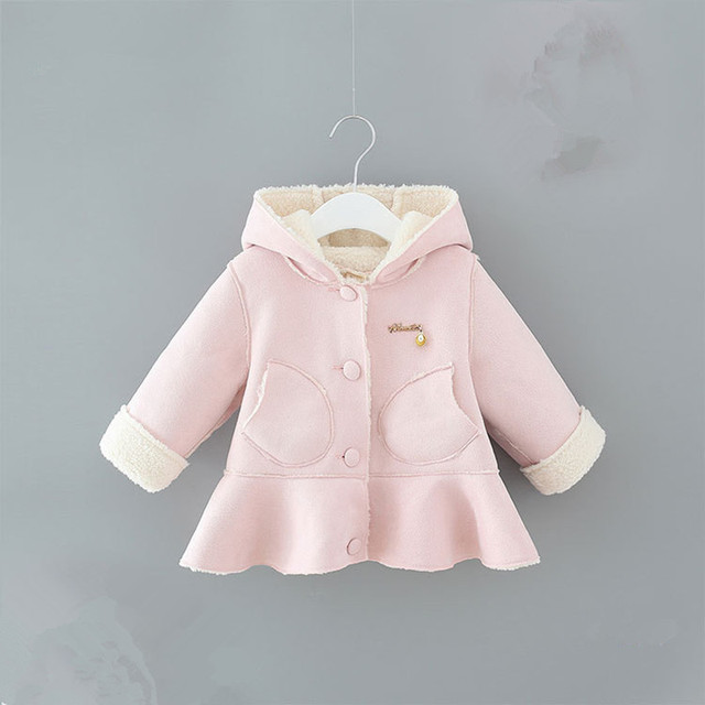 Baby Girls Clothing Children Winter Velvet Jacket Kids Hooded Big Bow Coat for Girls Clothes New Fashion Outwear with Pockets
