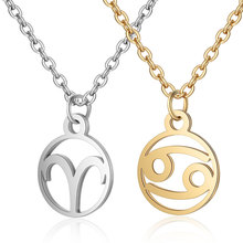 2019 Fashion 316L Stainless Steel 12 Constellation Sign Necklace Gold Silver Tone Long Chain Initial Zodiac Choker