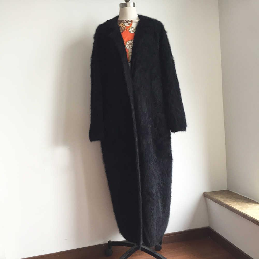 ニット本物のミンクカシミアのxロングコートファッションリアルミンクカシミアロング毛皮ジャケットレディーセーターミンク重いカーディガンDFP968