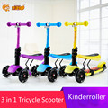 3 in 1 child scooter toy girl tricycle with adjust handle and seat PU light up wheel 3 wheels scooter monopattino per bambini