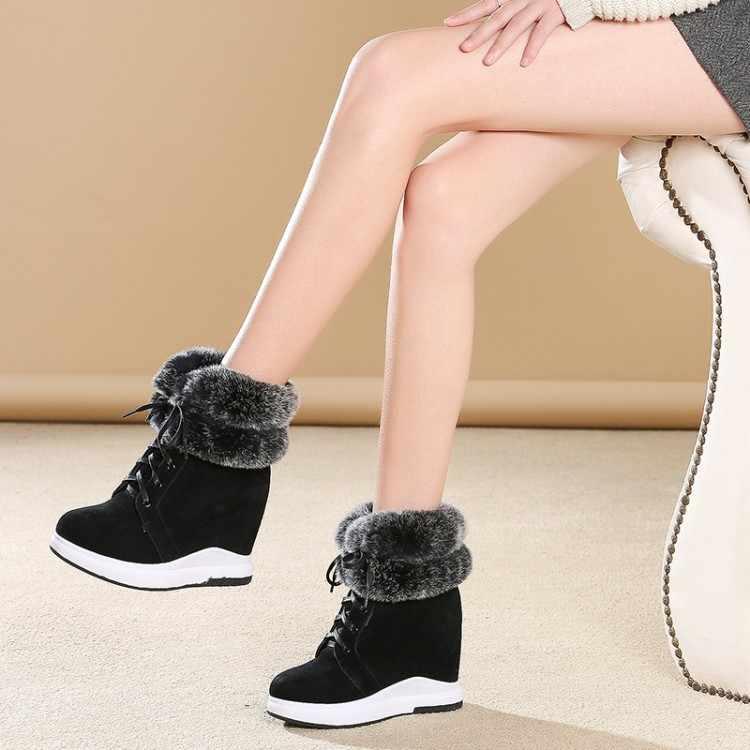 f9da104f ... {Zorssar} 2019 новые женские ботинки на танкетке зимние теплые плюшевые  зимние сапоги из коровьей ...
