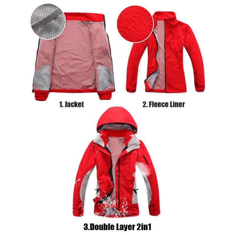 Na sprzedaż kobiety zima 2 w 1 na zewnątrz śnieg kurtka wiatroszczelna, wodoodporna, wspinaczka górska piesze wycieczki płaszcz