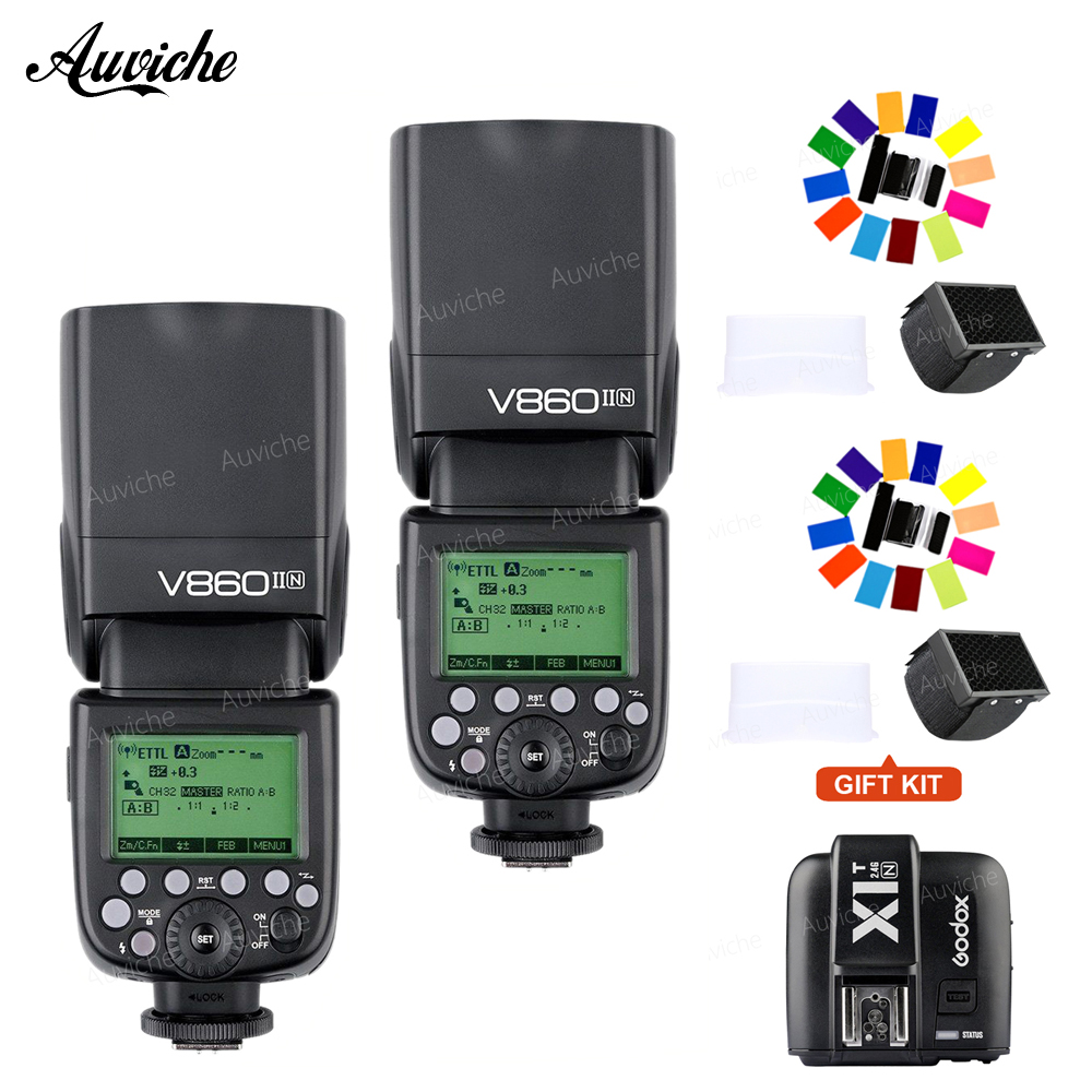 Godox V860II V860II-N Li-ion Battery TTL HSS Speedlite Flash TTL HSS wtih XIT-N transmitter for nikon camera 2pcs godox v860ii v860ii n gn60 i ttl hss 1 8000s flash speedlite li ion battery x1t n flash transmitter for nikon gift kit