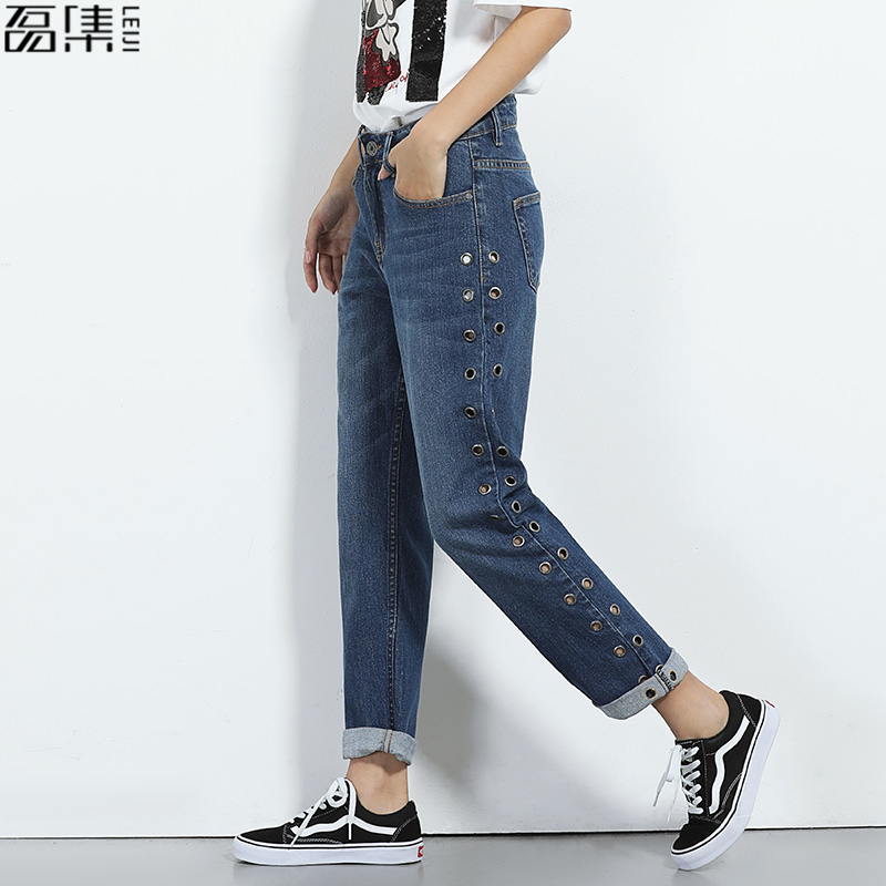 2017 fashion boyfriends straight Jeans for women loose blue Trousers full Length pant plus size 6XL
