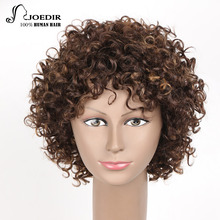 Joedir Brazilian Remy 100% Human Hair Wigs Bouncy Curl Style Machine Made Short Wigs For Women Color F1b/30 Free Shipping