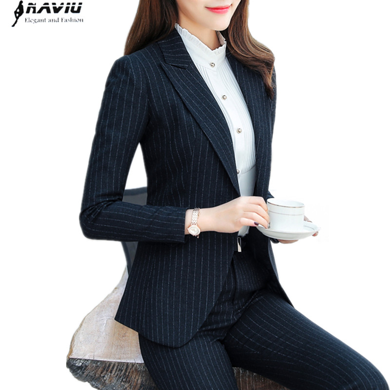 2018 nowych moda biznes spodnie garnitury zestaw formalne slim Stripe marynarka i spodnie biuro panie plus rozmiar odzież robocza wywiad 1