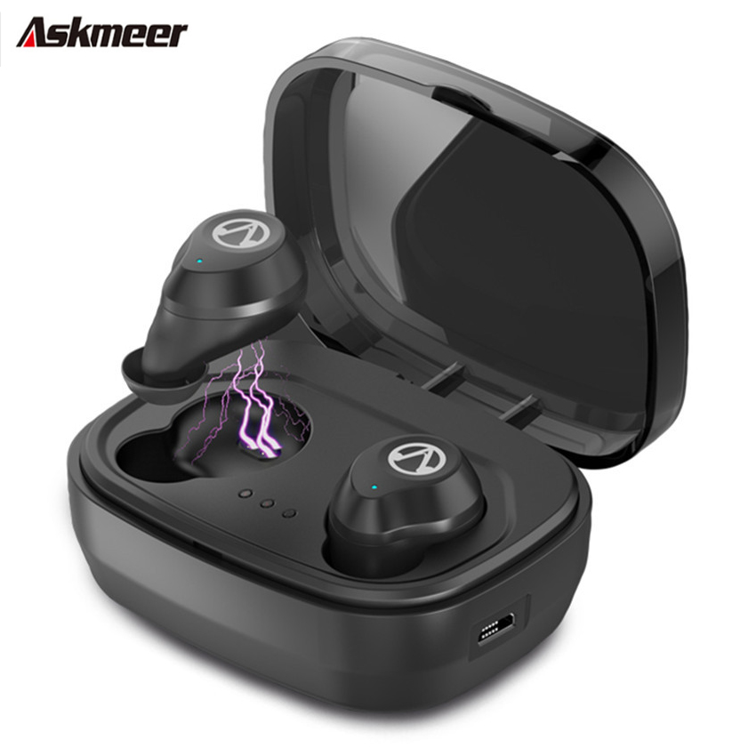 Askmeer TWS Bluetooth 5.0 Gaming Headset Touch Control Wireless Earphone Waterproof Sports Earbuds With 1600 Mah Charging box