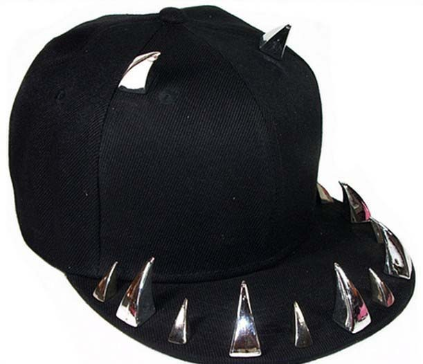 Free Shipping 2018 New Punk Black studded spiked Snapback hats For Women   Mens 7ae9f99cc46