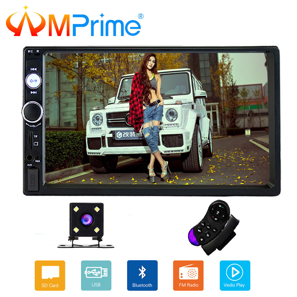 AMPrime 2 din car stereo Player 7 HD Autoradio MP5 Touch Screen Bluetooth Multimedia Player AUX-IN/FM/USB/SD Car Backup Monitor leshp 7001 hd 1080p touch screen with am rds music movie player bluetooth car radio video mp5 player autoradio fm aux usb sd