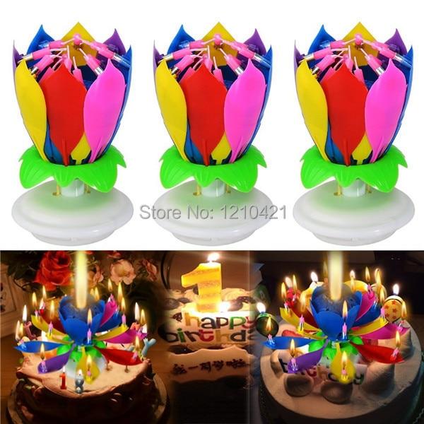 Gratis bezorging 3 stks / set musical lotus bloem kaars romantische party gift licht voor verjaardagsverrassing bruiloft decoratie