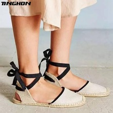 TINGHON 2019 NEW FASHION Summer Canvas Women Espadrilles Ankle Strap Platform Sandals  Stripe Lace up Flat