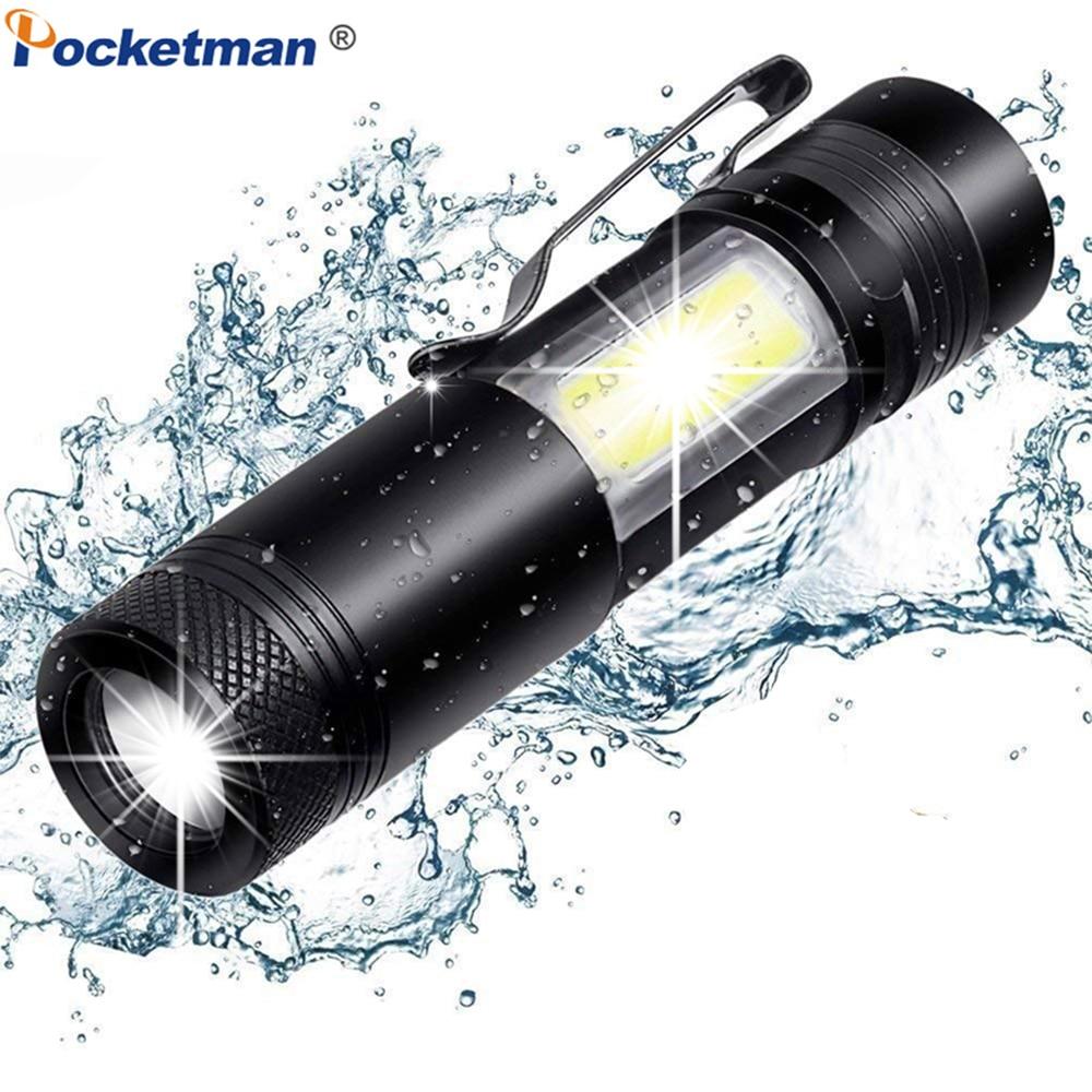 3900LM LED Flashlight XML-Q5+COB LED Torch Zoom Flashlight Mini Torch Super Bright Waterproof Flashlight