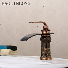 BAOLINLONG Antique Waterfall Styling Brass Deck Mount Bathroom Faucets Vanity Vessel Sinks Mixer Basin Faucet Tap