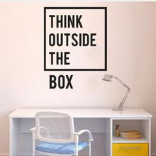 Removable Quotes Office Wall Decal Think Outside The Box Saying Sticker Shobo Home Decoration Mural Decals Y-170