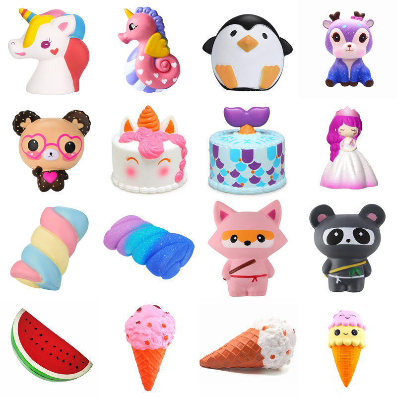 27 Type PU Star Deer Teeth Cotton Candy Jumbo Squishy Cute Unicorn Whale Cake Squishies Slow Rising Cream Scented Squeeze Toy