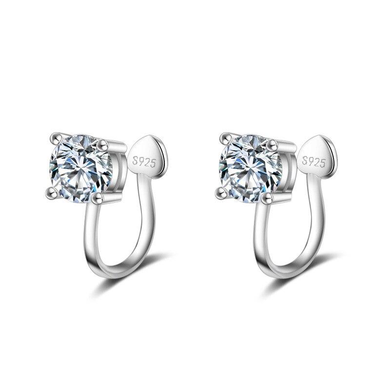 Женские Серебристые серьги-клипсы с кристаллами, без отверстия для ушей, уникальный дизайн, безопасные серьги, бесплатная доставка