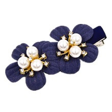 Alligator 2.6 inches fine hair clip geminate flowers pearls rhinestones duck clip for women and girls