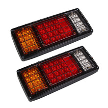1Pair 40LED Truck Rear Tail Lights with Iron Net 12V 24V Trailer Lorry Turn Signal Light Stop Reverse Lamp