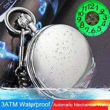 Espejo Deformante COMERSE CON LOS OJOS A Prueba de agua Luminosa Mens Señora Women Estudiantes Caja de Collar de Reloj de Bolsillo Mecánico Automático de Cuerda Automática
