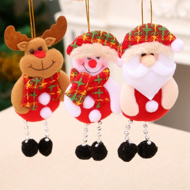 Christmas Tree Decoration Pendant Santa Claus Elk Doll Toy Hanging Ornaments Xmas Tree Pendants Home Party Table Window Decor