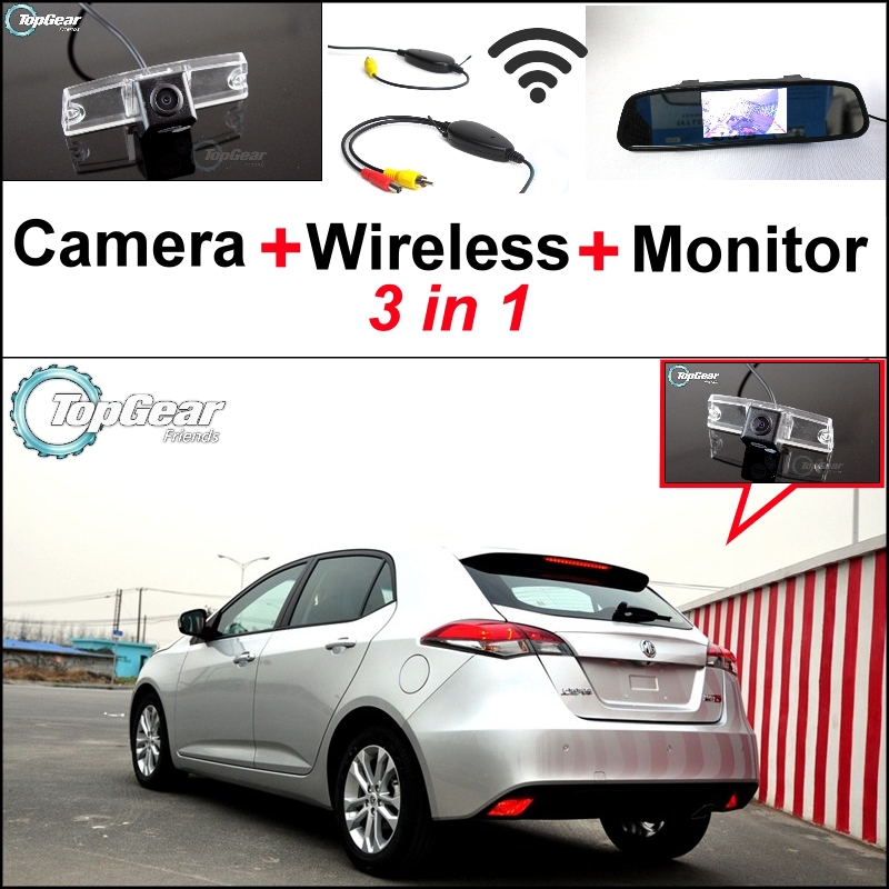 ФОТО 3 in1 Special Rear View Camera + Wireless Receiver + Mirror Monitor Easy DIY Back Up Parking System For Morris Garages MG5 MG 5