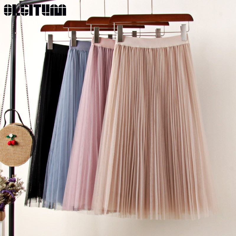 Pink Blue Tulle Skirt Women 2019 Spring Summer Women Midi Pleated Skirt Elastic High Waist Mesh A-line Solid Tutu Skirt Falda