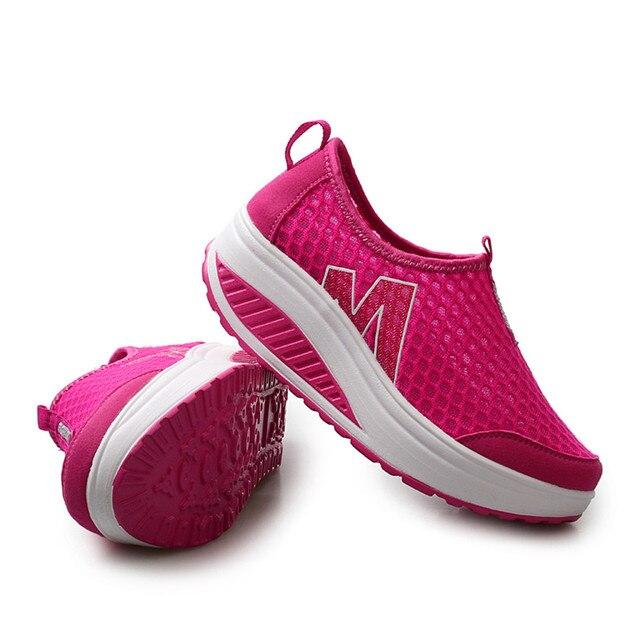 أحذية نسائية جديدة أحذية أنيقة غير رسمية المشي منصة الارتفاع زيادة النساء المتسكعون تنفس شبكة سوينغ أسافين حذاء A30716 3