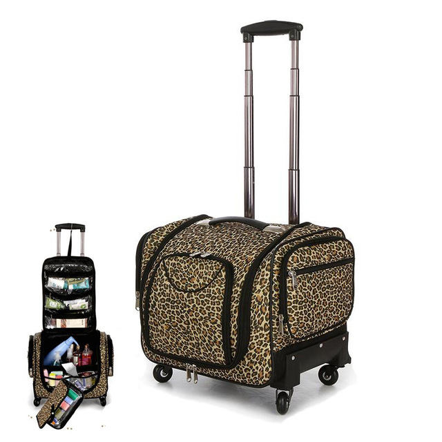 Travel Tale Multifunction Leopard Rolling Luggage Spinner High Capacity Suitcase Wheels Carry On Trolley Cabin Travel Bag