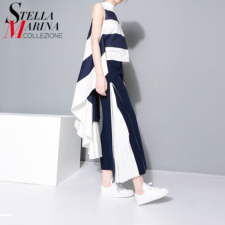 New 2018 Women Sexy Long Tee Top Very Long Back Sleeveless Blue Striped Boho Hippie Casual Evening Party Club T-Shirt Style 1358
