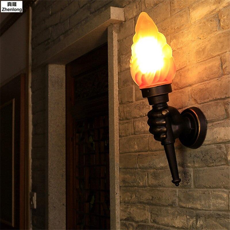 Torche créative main applique extérieure lumière jardin cour porche salon chambre escalier allée Restaurant café lumière aluminium E27