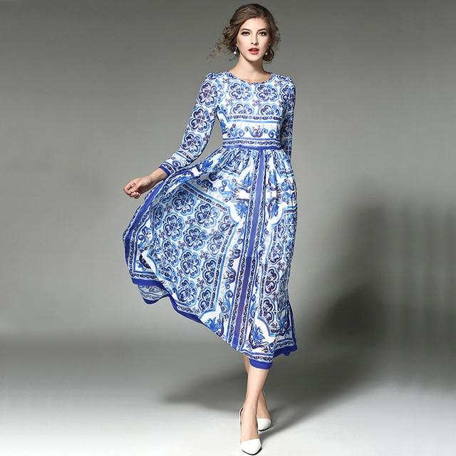 Vrouwen vintage lente jurken hoge kwaliteit designer runway 2017 mode porselein print lange mouwen formele maxi dress om188