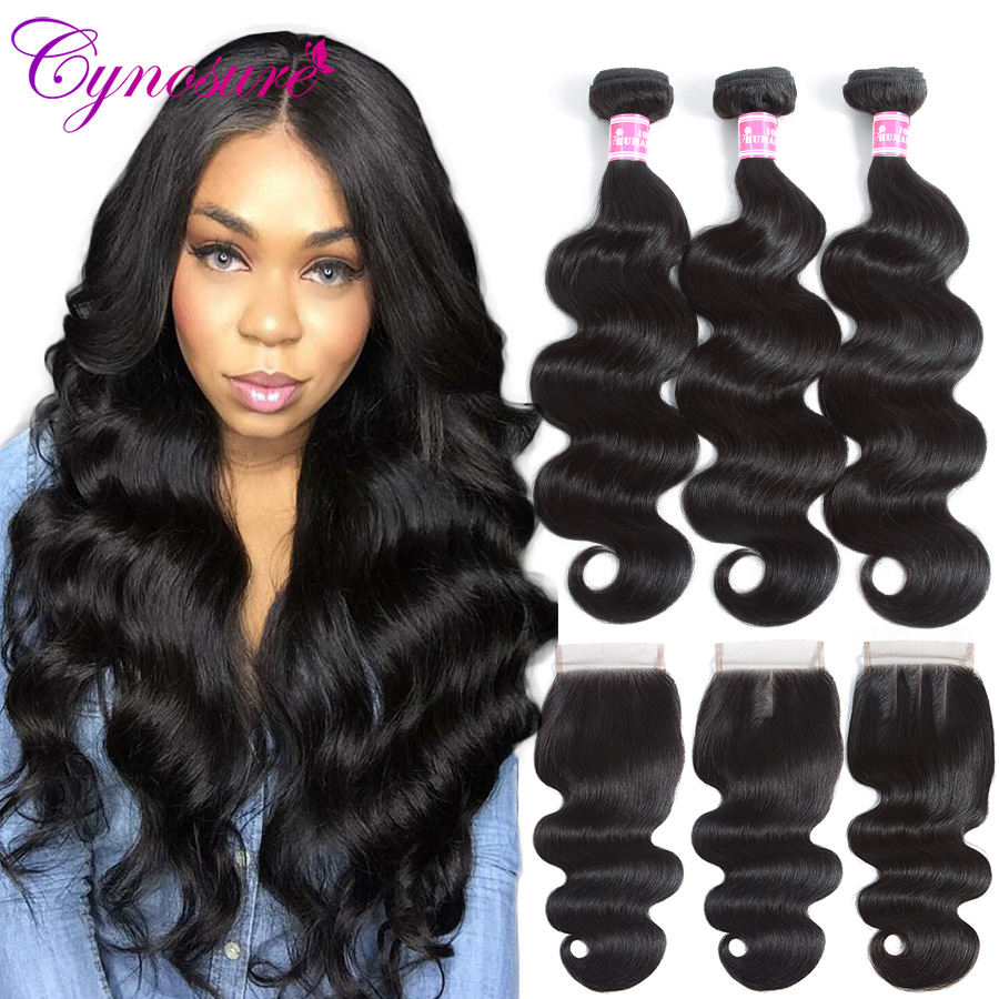 Cynosure Brazilian Hair Weave 3 Bundles With Closure Double Weft Body Wave Human Hair Bundles With Closure Soft Remy Hair(China)