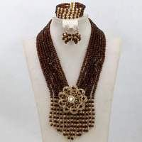 Miss Mousaie African Crystal Bead Necklace Jewelry Set Brown Crystal Beads and Gold Tassel Pendant Necklace for Wedding QW602