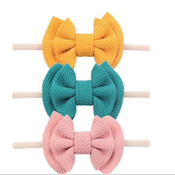36pc lot 2019 New 3 5 Cotton Fabric Bow Headbands Girls Hair Bow with Skinny Nylon