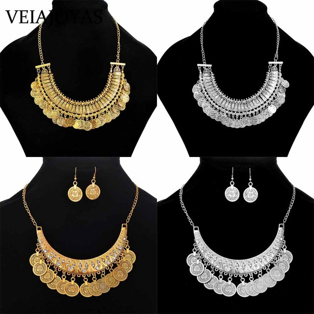 078a767917f7e US $1.79 5% OFF|Women Gypsy Choker Necklace Fashion Girl Jewelry Bohemian  Antique Silver Coin Necklace Vintage Trendy Indian Ethnic Necklace Set-in  ...