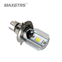 LED Motorcycle Headlight Bulbs H4 HS1 Plug DC AC12V 6W 800LM 6500K High Low Beam Cree