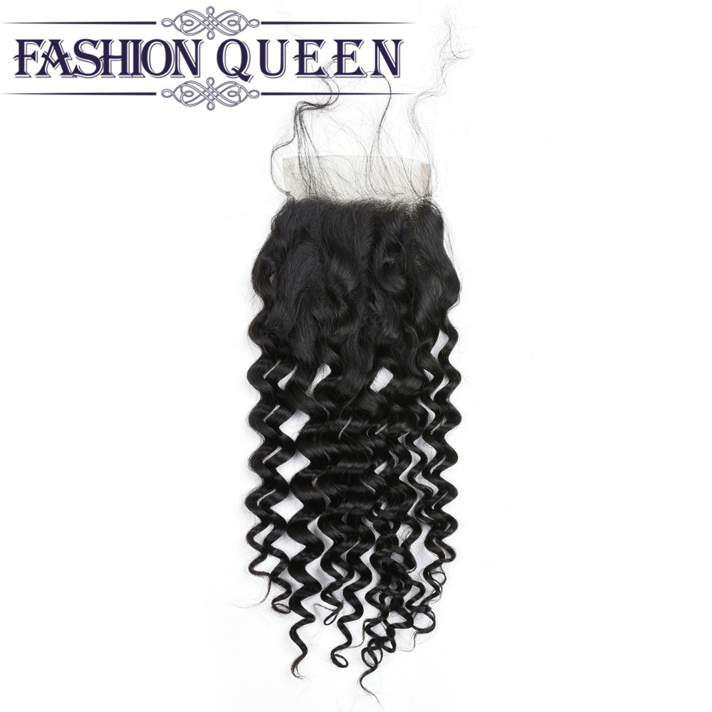 Brazilian Lace closure Water Wave Human Hair Middle Free Three 4*4 Lace Remy Hair Closure Natural Black Color