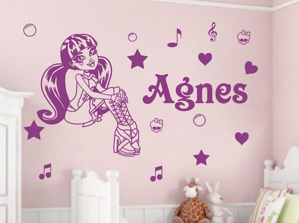 ... Custom Personalised Name Monster High Wall Art Stickers Kids Baby Vinyl  Decals ...