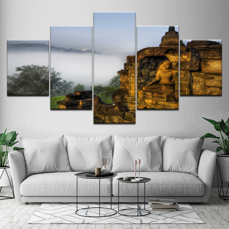Canvas Painting Indonesia Borobudur 28 Pieces Wall Art Painting Modular  Wallpapers Poster Print for living room Home Decor