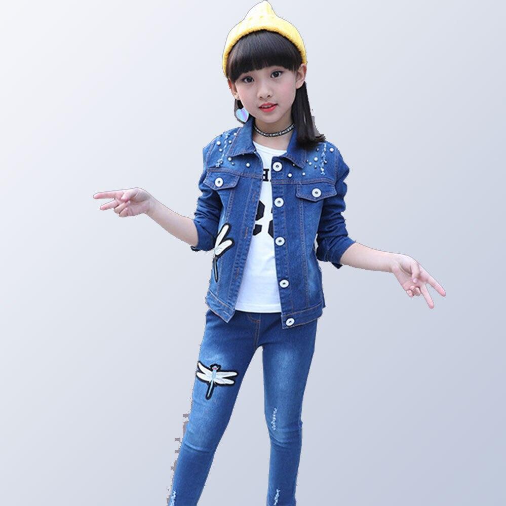 Automne Denim vêtements pour enfants ensembles libellule veste + Jeans 2 pièces hiver enfants vêtements pour filles adolescentes 4 6 7 9 11 14 ans