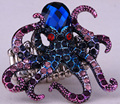 Octopus stretch ring for women antique gold silver plated animal jewelry gifts W crystal wholesale dropshipping