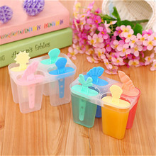 4 Cavity Ice Mold Plastic Cream With Sticks Useful Popsicle Maker Summer DIY Kitchen Accessories 2019