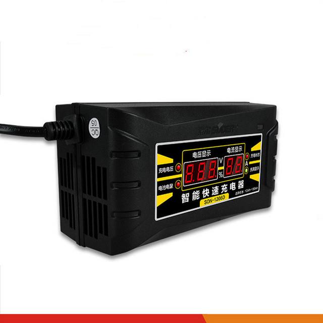 12 V 6A Carregador de Carro 110 V/240 V LED display inteligente de chumbo-ácido Carregador de bateria de carro elétrico + frete grátis