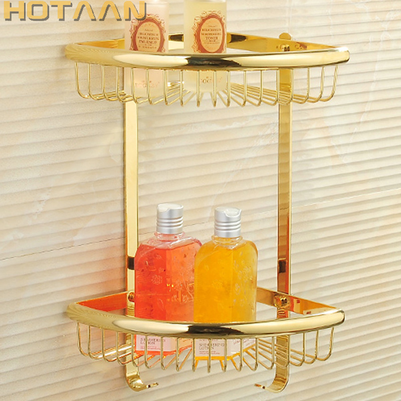 Free Shipping Wall Mounted gold color solid brass Bathroom Shower shampoo Shelf bathroom Basket Holder Fashion Double Layer free shipping two layer bathroom rack space aluminum towel washing shower basket bar shelf