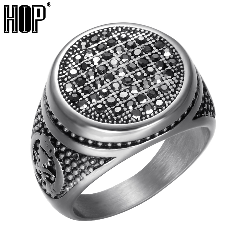 HIP Punk Gothic Black Crystal Round Mens Ring Titanium Stainless Steel Cubic Zirconia Rings for Men Jewelry punk style titanium steel hollow out ring for men