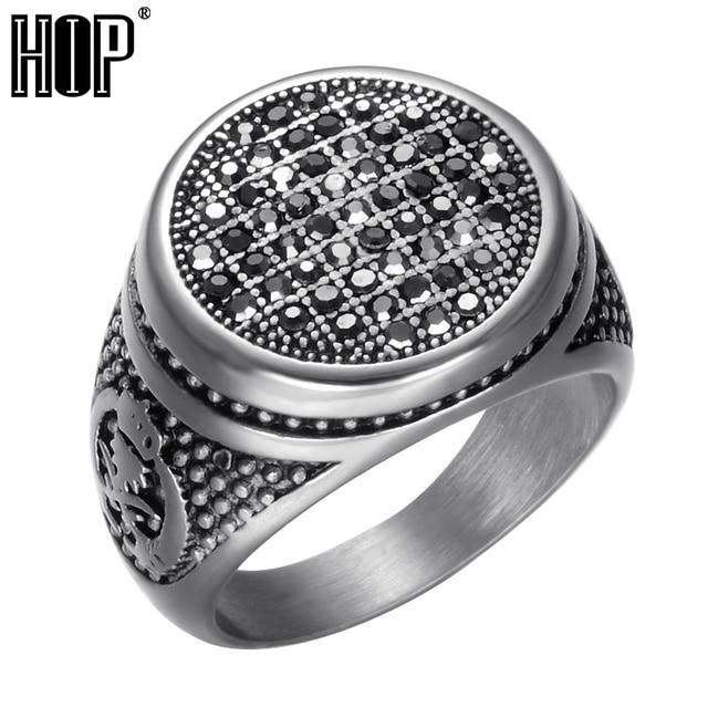 HIP Punk Gothic Black Crystal Round Mens Ring Titanium Stainless Steel Cubic Zir