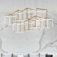 Постмодерн простой золотой нержавеющей стали полые подвесной светильник творческий DIY сочетание площадь стерео светодиодный освещения Сп